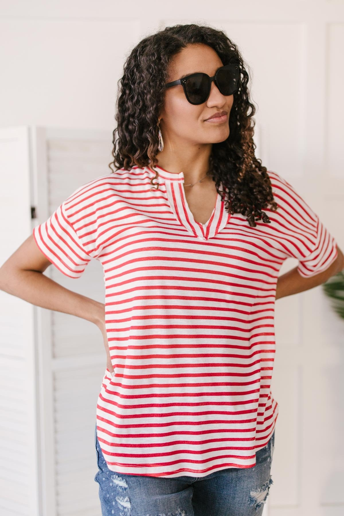 One and Only Stripes Top in Red-Ave Shops-Avis Lane Boutique-Justin, Texas