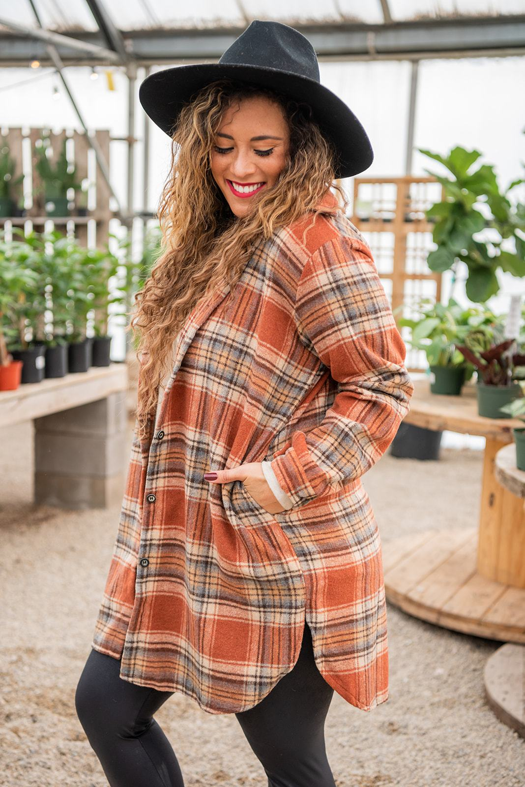 Mountain Adventure Flannel Top- Rust-Rise Apparel-Avis Lane Boutique-Justin, Texas