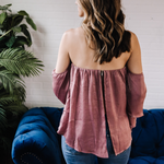 Off The Shoulder Tiered Sleeve Top with Split Back
