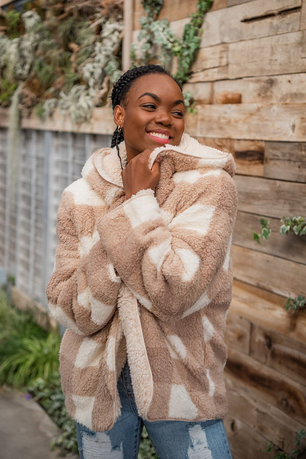 Tell Me Everything Sherpa Fleece Hooded Coat-Rise Apparel-Avis Lane Boutique-Justin, Texas