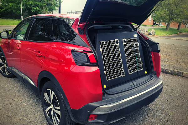 A dt 6 dog crate in a Peugeot 3008 SUV Jeep. The dog crate is UK made by DT Boxes.
