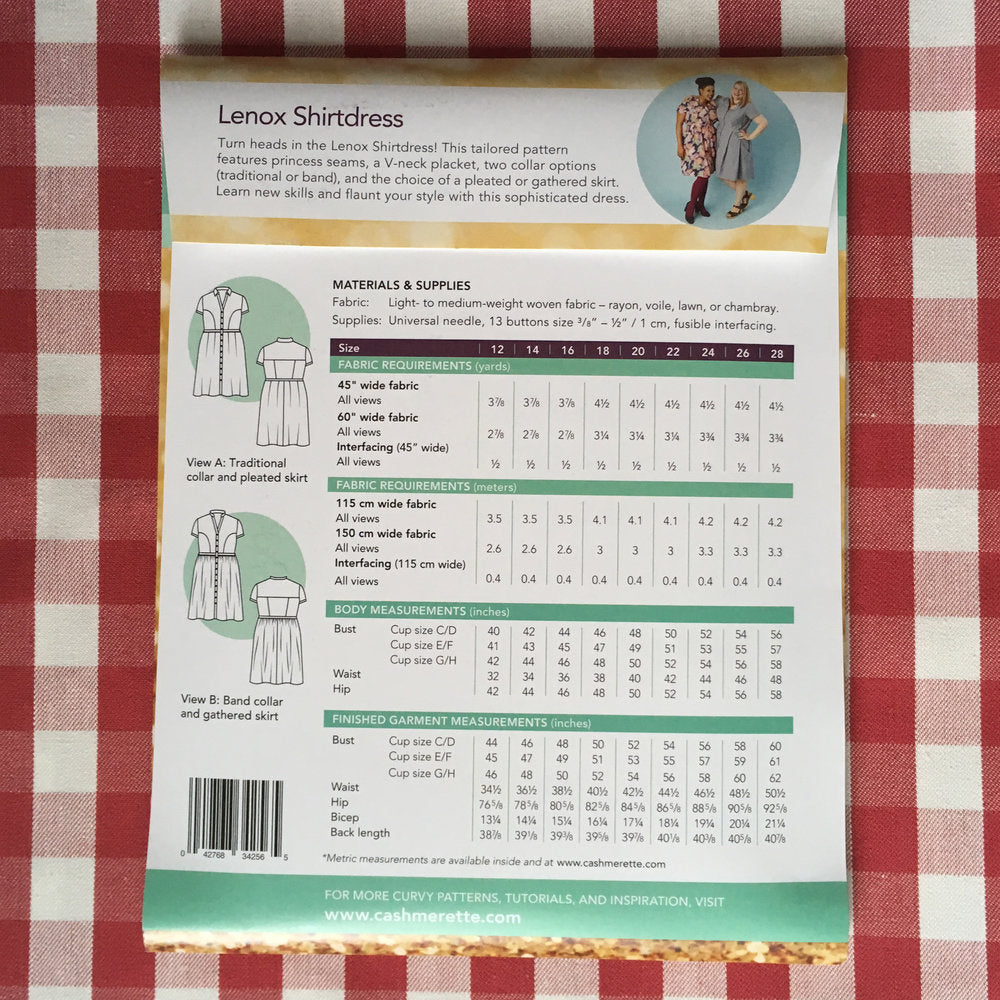 Cashmerette Lenox Shirtdress Curvy Sewing Pattern - Lakes Makerie - Minneapolis, MN