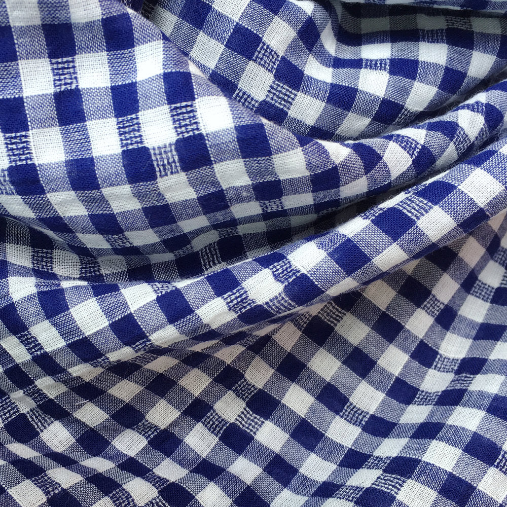 Blue Check Textured Voile, 1/2 yard - Lakes Makerie - Minneapolis, MN
