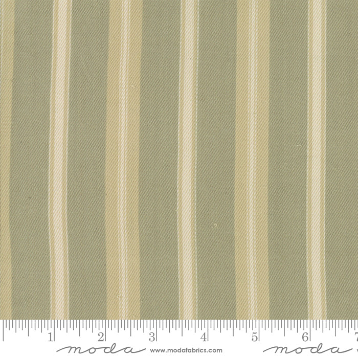 "French General Atelier de France Twill Cotton Fabric, ""Roche"" Sage and Taupe Stripe on taupe, 1/2 yard"