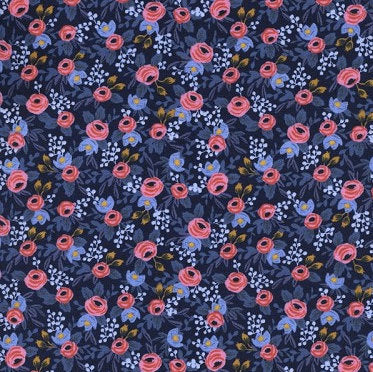 Rifle Paper Co., Les Fleurs- Rosa-Navy,  1/2 yard - Lakes Makerie - Minneapolis, MN