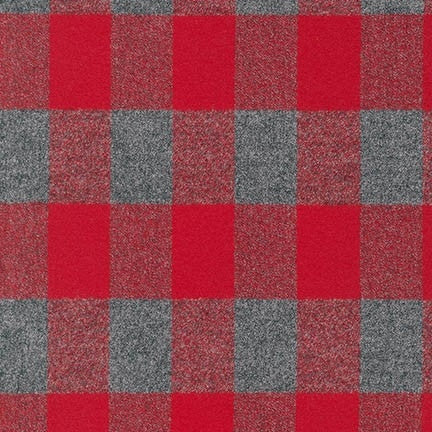 Mammoth Flannel Check- Red and Grey, 1/2 yard - Lakes Makerie - Minneapolis, MN