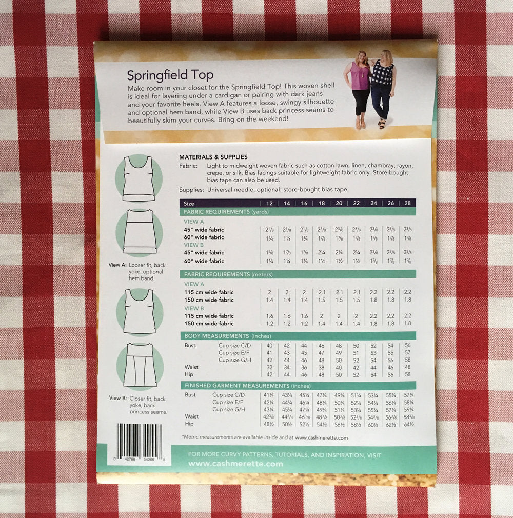 Cashmerette Springfield Top, Curvy Sewing Pattern - Lakes Makerie - Minneapolis, MN