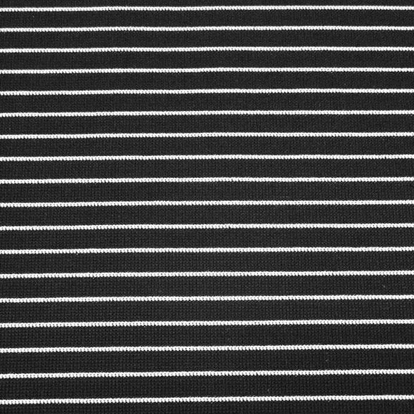 Italian Ponte Knit, Narrow Black and White Stripe, 1/2 yard