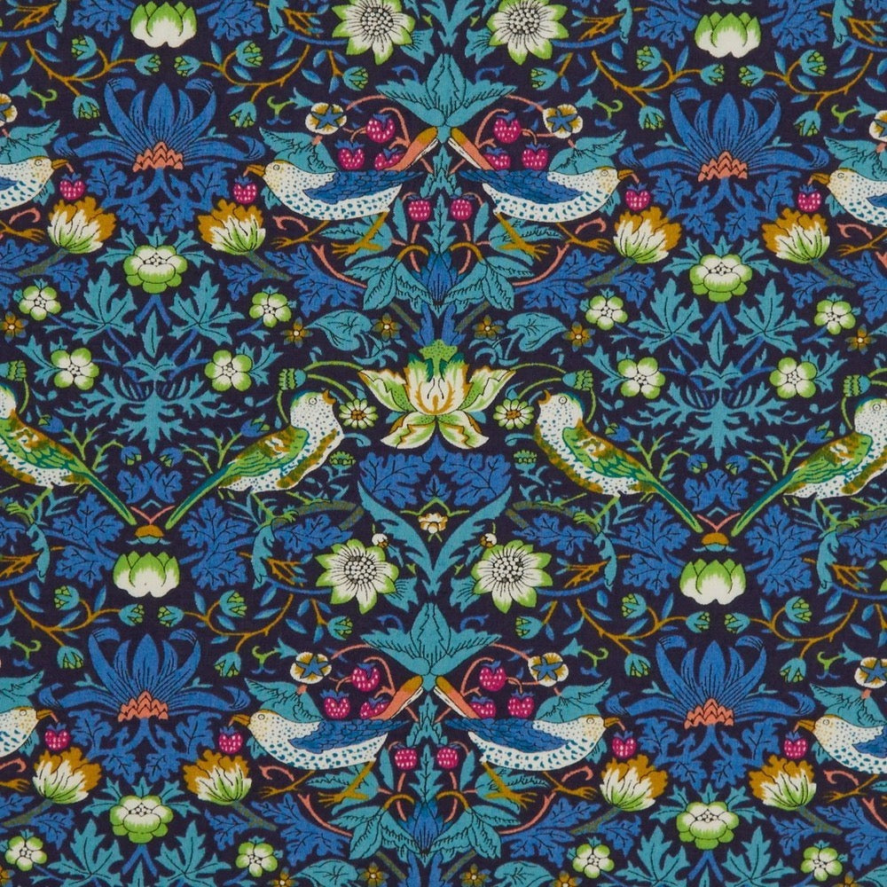 Liberty Tana Lawn Cotton Fabric, Strawberry Thief, Teal, 1/2 yard - Lakes Makerie - Minneapolis, MN