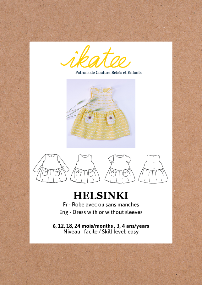 Ikatee (France), Helsinki Dress Sewing Pattern - Baby/Child, 6M-4Y