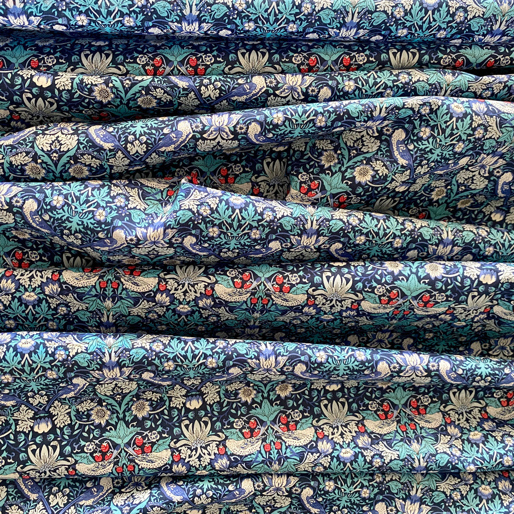 Liberty Tana Lawn Cotton Fabric, Strawberry Thief M, Blue, 1/2 yard