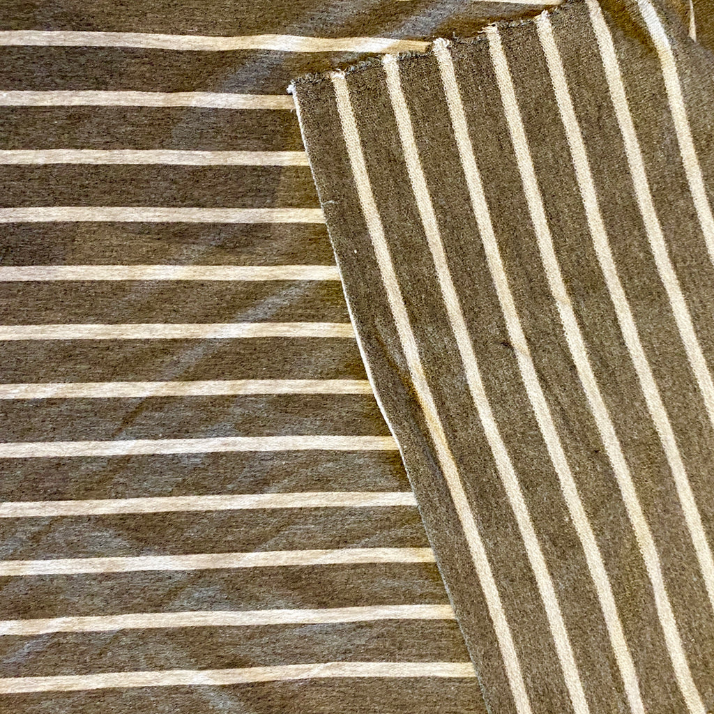 Striped Rayon French Terry, grey with white, 1/2 yard