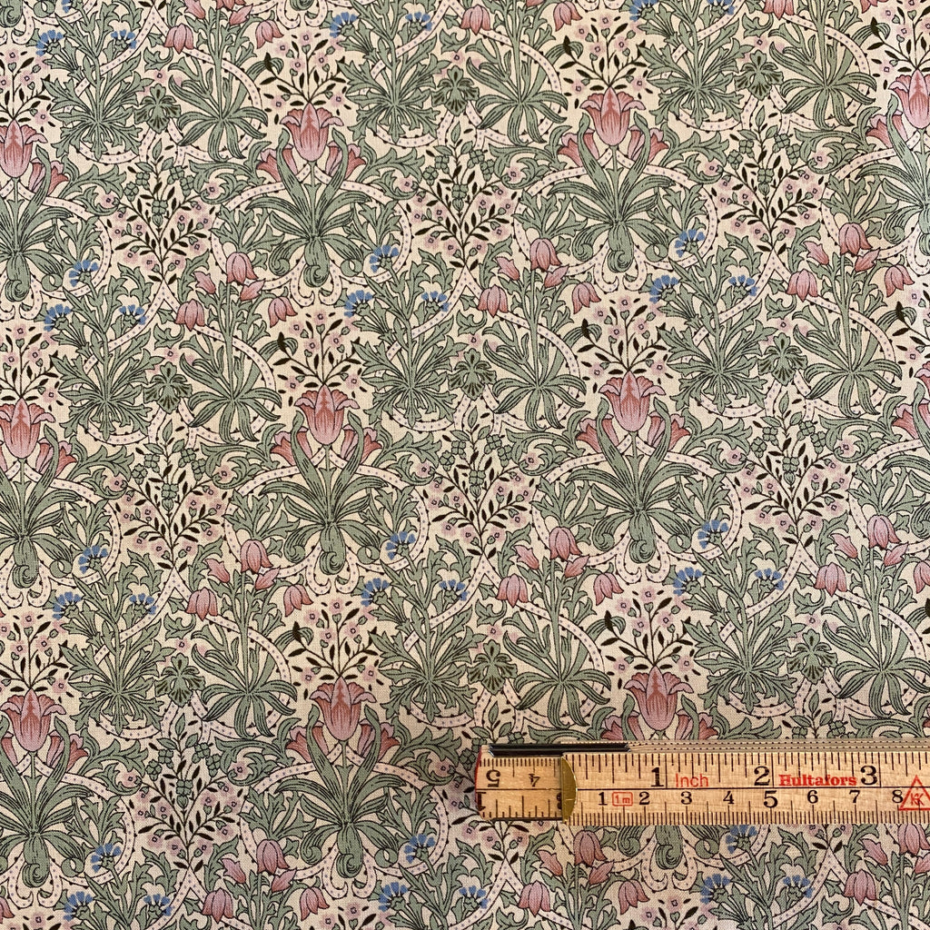 Japanese Floral Sheeting, pink and green 1/2 yard