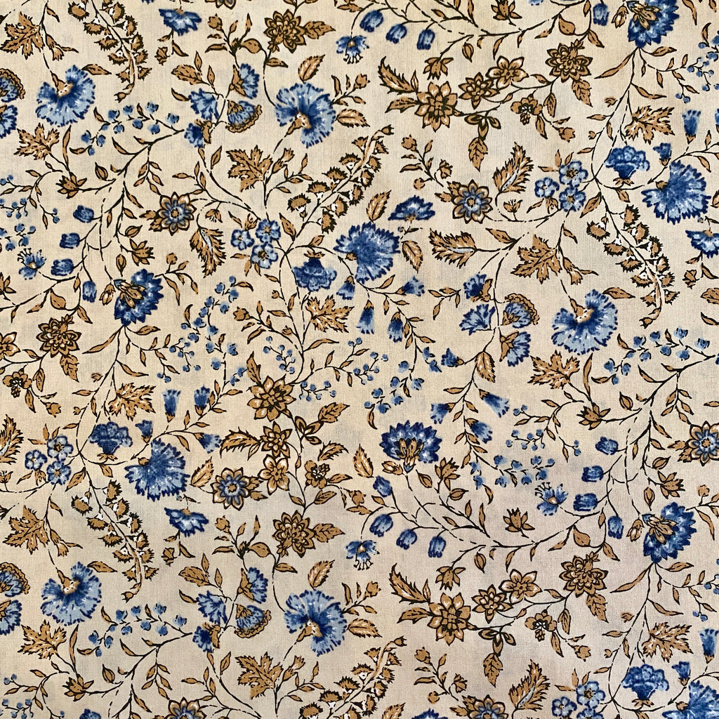 Hokkoh Blue Carnations on Cream, Cotton Lawn 1/2 yard