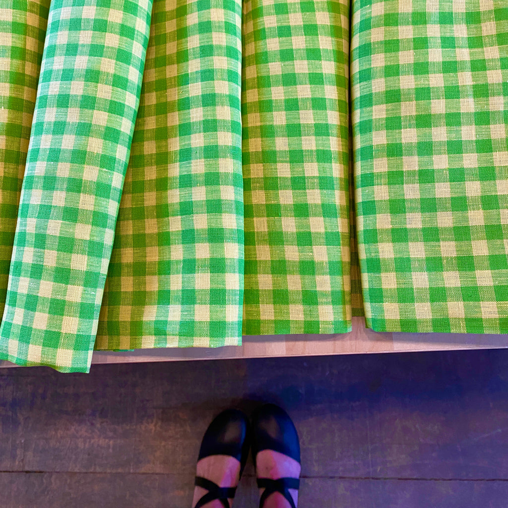 "Lemon Lime (""Lymon"")  EU Linen Gingham, 1/2 yard"