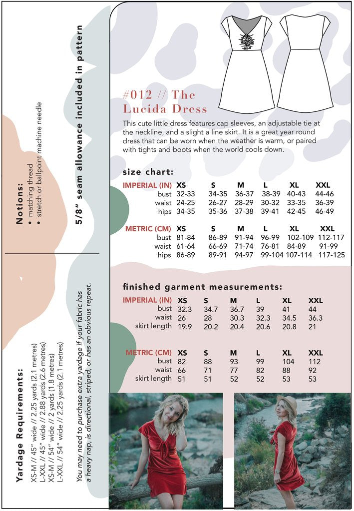 Friday Pattern Co., Lucida Dress sewing pattern - Lakes Makerie - Minneapolis, MN