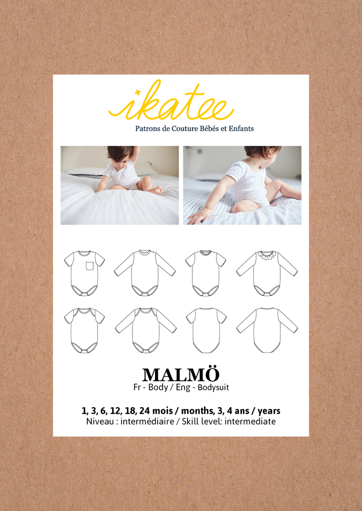 Ikatee (France), Malmo Bodysuit Sewing Pattern - Infant/Baby/Child, 1M-4Y