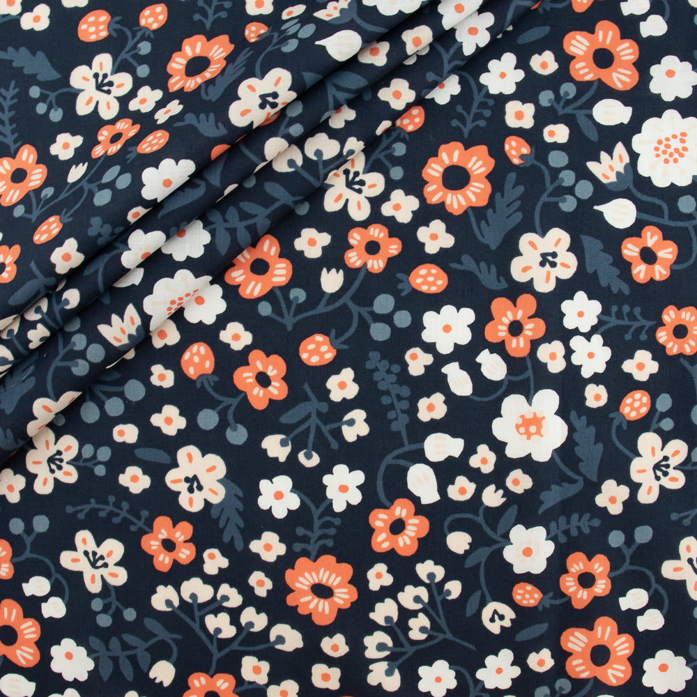 Birch Organic Bella Cotton Lawn by Kristin Barouche, Prints, Bella Margot Midnight, 1/2 yard