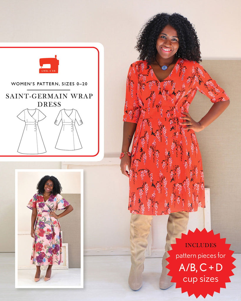 Liesl + Co., Saint-Germain Wrap Dress Sewing Pattern