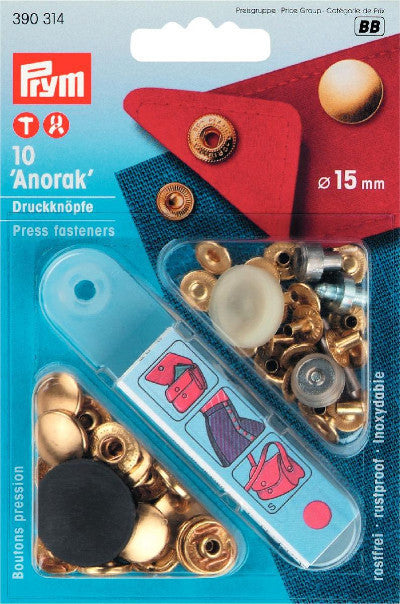 Prym Anorak Snaps, 15 mm, with snap setting tool