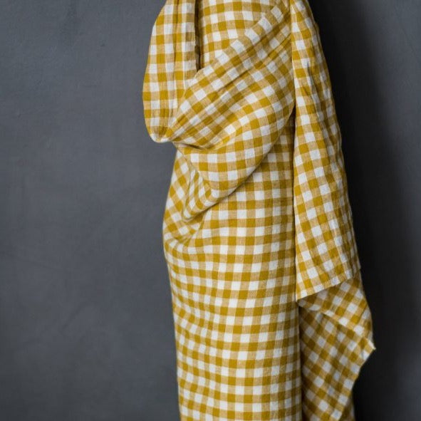 "Merchant & Mills, European Laundered Linen, ""Penzance"" Mustard and Ivory Check, 1/2 yard"