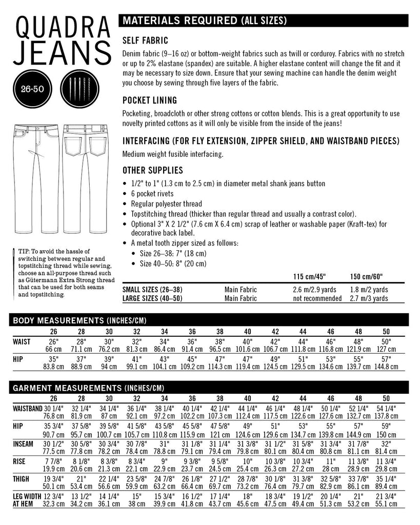 Thread Theory Men's Quadra Jeans Pattern - Lakes Makerie - Minneapolis, MN