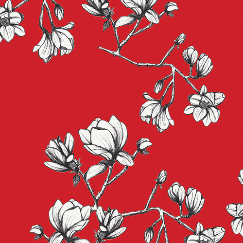 Magnolia Study, Red,  Rayon Fabric, 1/2 yard