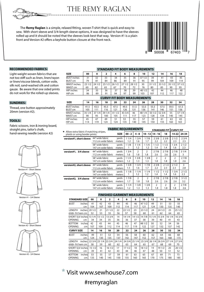 Sew House Seven, The Remy Raglan Pattern, sizes 00-34