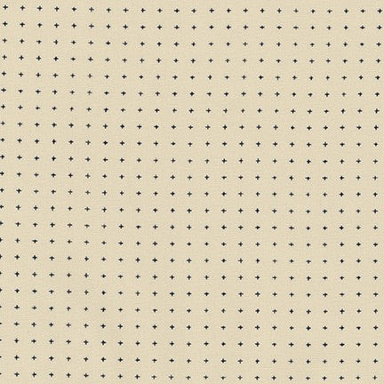Sevenberry Kasuri Cotton Fabric, Off White with Crosses, 1/2 yard