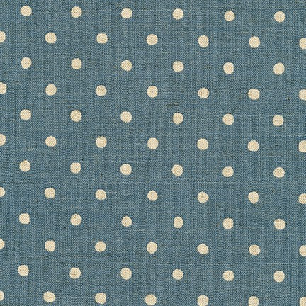 Sevenberry Canvas Natural Dots Cotton Flax Fabric, White on Denim, 1/2 yard