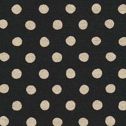 Sevenberry Canvas Natural Dots Cotton Flax Fabric, Natural on Black, 1/2 yard