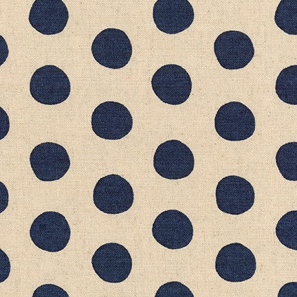 Sevenberry Canvas Natural Dots Cotton Flax Fabric, Navy on Natural, 1/2 yard