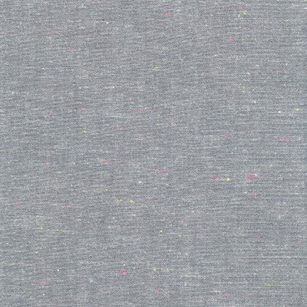 Neon Neppy Cotton Fabric- Grey with Neon Multicolored Motes, 1/2 yard