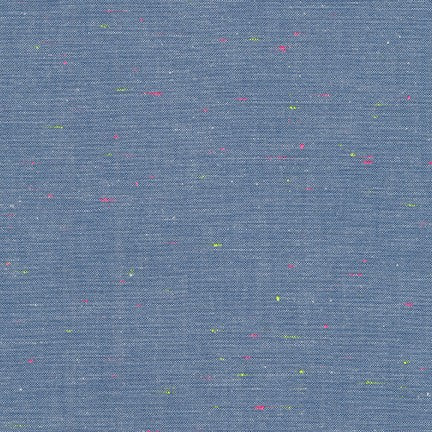 Neon Neppy Cotton Fabric- Blue with Neon Multicolored Motes, 1/2 yard