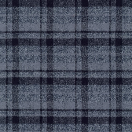 "Mammoth Cotton Flannel  ""Black Ice"" Grey and Black Plaid Fabric, 1/2 yard"