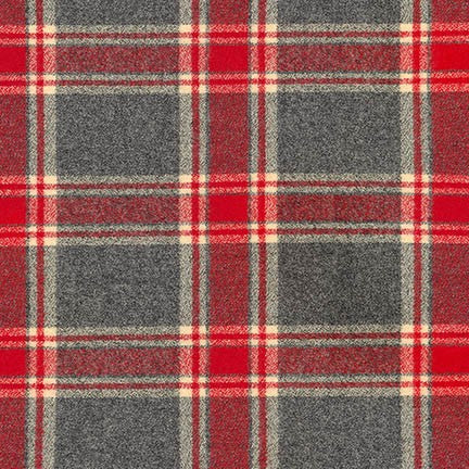 "Mammoth Cotton Flannel ""Kenwood"" Red and Grey Plaid Fabric, 1/2 yard"