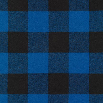 "Mammoth Flannel ""Babe the Blue Ox"" Buffalo Check Cotton Flannel Fabric- Blue and black, 1/2 yard"