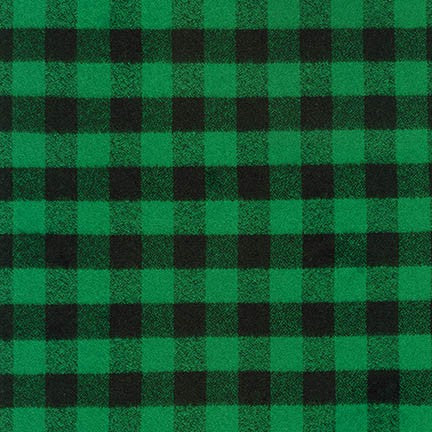 "Mammoth Flannel ""Spruce Tip"" Check, Green and Black Fabric, 1/2 yard"