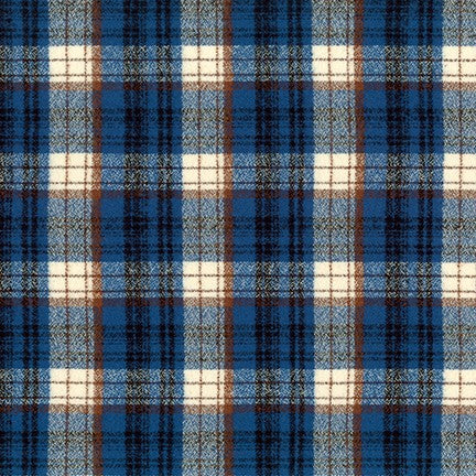 "Mammoth Cotton Flannel, ""Bde Maka Ska"" Blue and Brown Plaid Fabric, 1/2 yard"