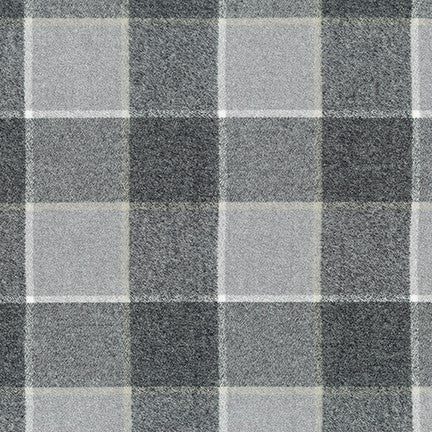 "Mammoth Cotton Flannel ""Stone Arch Bridge"" Grey Windowpane Check Fabric, 1/2 yard"