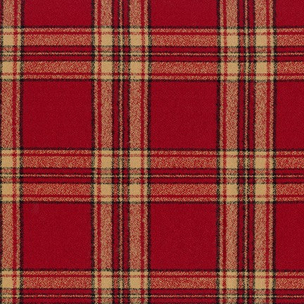 "Mammoth Cotton Flannel ""Lake of the Isles"" Red and Cream Plaid Fabric, 1/2 yard"