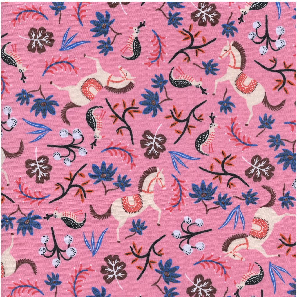 Rifle Paper Co. Les Fleurs cotton fabric Carousel-Pink, 1/2 yard - Lakes Makerie - Minneapolis, MN