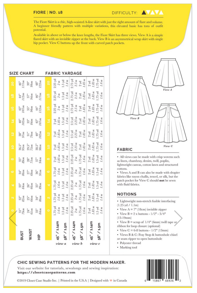 Closet Case Patterns, Fiore Skirt Pattern - Lakes Makerie - Minneapolis, MN