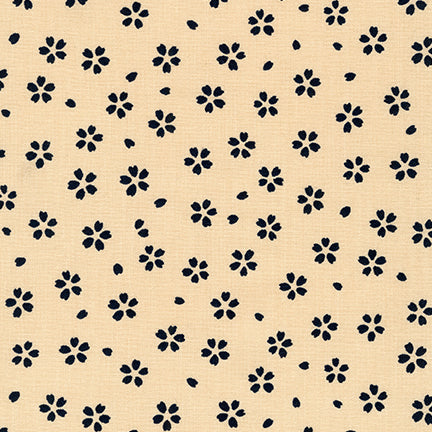 Sevenberry Kasuri Cotton Fabric, Denim Flowers on Cream, 1/2 yard - Lakes Makerie - Minneapolis, MN