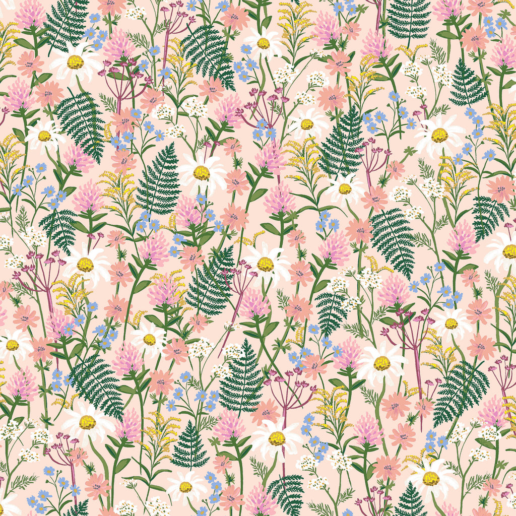 Rifle Paper Co., Wildwood, Wildflowers Pale Rose Lawn Fabric, 1/2 yard - Lakes Makerie - Minneapolis, MN