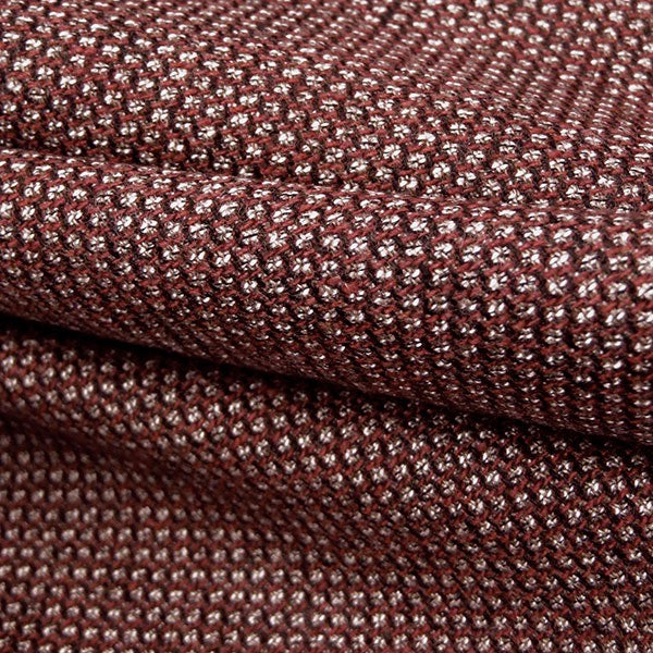 Designer Deadstock Burgundy Diamond Weave Wool-Viscose-Lycra Suiting, 1/2 yard