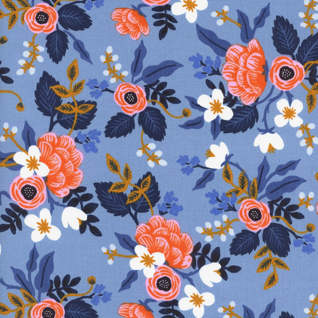 Rifle Paper Co., Les Fleurs- Birch-Periwinkle Fabric  1/2 yard - Lakes Makerie - Minneapolis, MN