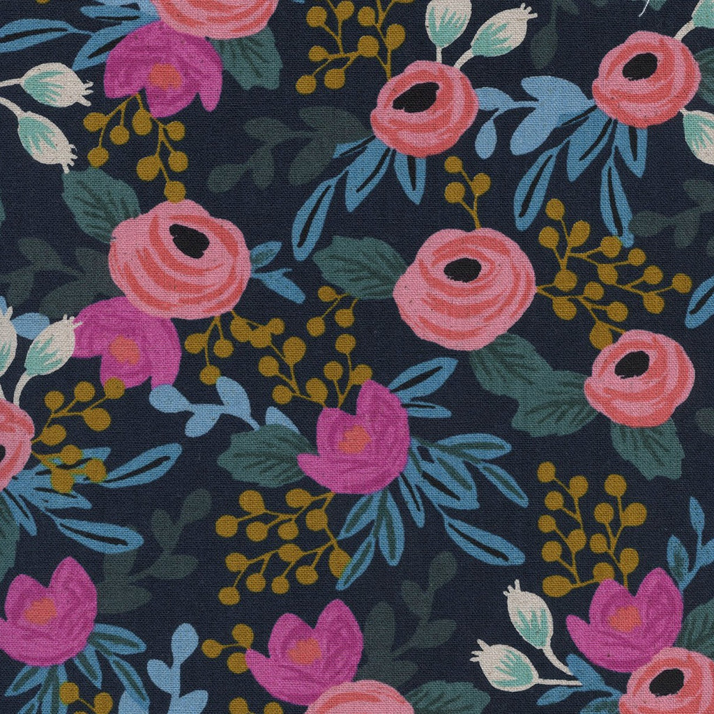 Rifle Paper Co., Menagerie - Rosa - Navy Canvas Fabric, 1/2 yard