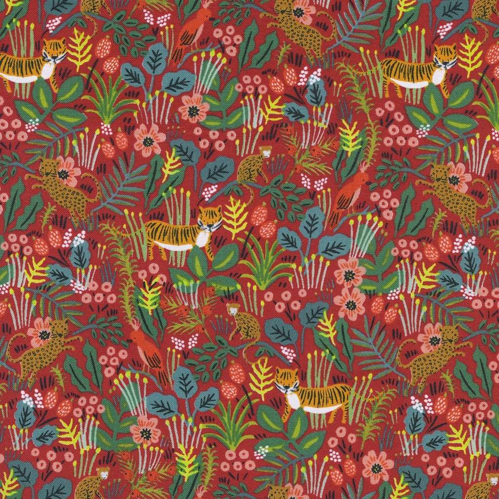 Rifle Paper Co. Menagerie -Jungle - Red Fabric, 1/2 yard