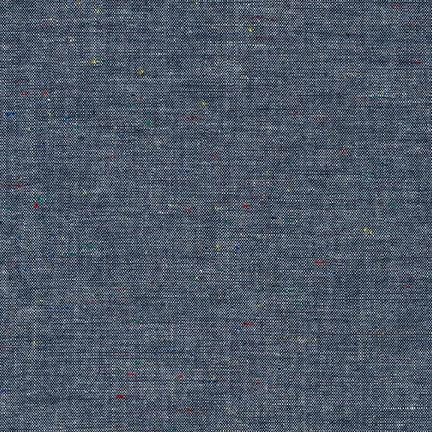 Chambray Union Cotton Fabric- Indigo with Multicolored Motes, 1/2 yard - Lakes Makerie - Minneapolis, MN